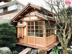 We are very excited to show you the first constructed Nagasu Tea House by Yokoso Japanese Gardens. The Japanese style wooden tea house is part of a Japanese garden we designed and constructed in the past, which also includes a Koshikake and Sutoreiji storage shed. For all of these woodwork projects we primarily used Western Red Cedar, a very durable type of wood. The Nagasu Tea House is completely insulated so it can be warm, dry and cozy in all weather conditions and during all the seasons. Japanese Home Design, Japanese Style House, Japanese Fence, Japanese Gardens, Building Design, Building A House, Japan Architecture, Backyard Pool Landscaping, Zen