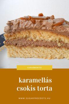 nagyon finom cukormentes karamellás csokis torta, egyszerű piskótával és szinte szénhidrátmentes karamellával Protein Cake, Sugar Free Diet, Vanilla Cake, Paleo, Food And Drink, Low Carb, Gluten Free, Sweets, Healthy Recipes