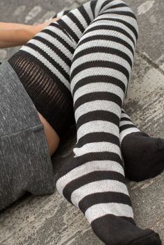 Opaque Stockings, Striped Stockings, Cute Stockings, Striped Tights, Thigh High Socks, Thigh Highs, Nylons, Frilly Socks, Kawaii Clothes