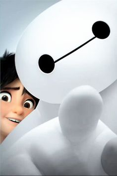"Baymax: ""hey you there!!"" Hiro: ""it's ok. they're friends!"" ベイマックス - Baymax - Big Hero 6"
