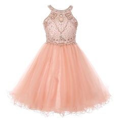 Big Girls Blush Pink Jeweled Bodice Off Shoulder Strap Pageant Ball Dress 8-16