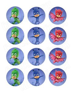PJ Masks Edible Cupcake Images Cupcake Toppers - Cakes For Cures Pj Masks Cupcake Toppers, Pj Mask Cupcakes, Edible Cupcake Toppers, Los Pj Mask, Pj Mask Party Decorations, Pj Masks Printable, Pjmask Party, Festa Pj Masks, Cupcake Images