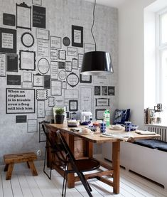 Modernise your dining room by adding some interesting graphic wallpaper, chic metal pendant lights. Quirky vintage accessories complete the look.