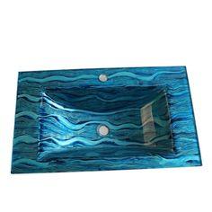 (EU Lager)Stilvolles Glas Waschbecken Eckig