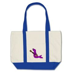 Funny Purple Seal Animal Playing Banjo Tote Bag custom gift ideas diy