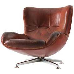 Illum Wikkelsø Swivel Lounge Chair in Brown Leather