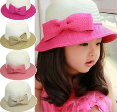 Summer 2014 child Sun Hat For Girls Baby Straw Cap Bow Beach Wide a751880803c