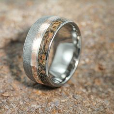 Mens Jewelry, Titanium Ring with Meteorite, Dinosaur Bone, Mokume Gane