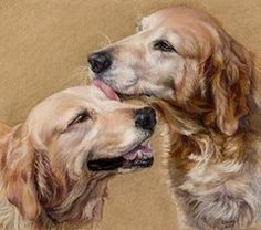 Golden Retriever Paintings - Huck and Blue by Candy Maley