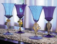 Murano glass collectible goblets