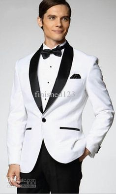 Click to enlarge White Jacket With Black Satin Lapel Groom Tuxedos Groomsman Best