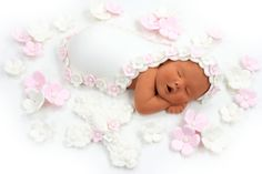 Baptism Baby Cake Topper with Pink & White Flower by lilsculpture