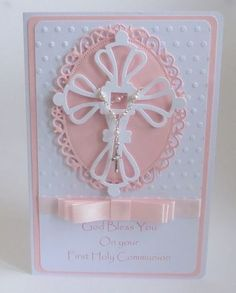 Luxury Girls First Holy Communion handmade card : Luxury Girls First Holy Communion handmade card First Communion Cards, Communion Gifts, First Holy Communion, Confirmation Cards, Baptism Cards, Tattered Lace Cards, Christian Cards, Communion Invitations, Girly Gifts
