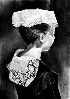 Dessin - Jeune fille d'Auray Breizh Ma Bro, Abstract Pictures, Jolie Photo, Drawing, Folklore, Traditional Outfits, Portraits, Brittany, Illustration