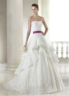 Elegant Lace & Satin Strapless Neckline Natural Waistline A-line Wedding Dress