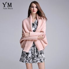 2300936b775 YuooMuoo Fashion Autumn Knitted Cardigan Women Casual Batwing Long Sleeve  Poncho Elegant Solid V-neck Sweater Ladies Coat Jacket