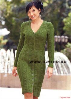 Элегантное зеленое платье на пуговицах. Спицы green dress