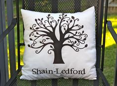 personalized family tree pillow.  perfect for your housewarming, wedding or anniversary.  comes in any color or design.