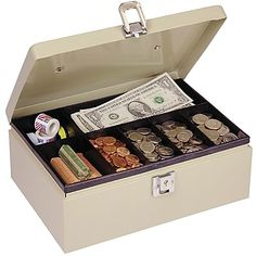 MMF Industries Steel Cash Box with Locking Latch, Sand Latch holds cover closed in locked or unlocked position. Removable seven-compartment tray with storage underneath. 11 x x 4 Inches. Church Fundraisers, Cash Box, Cash Register, 4 H, Storage Spaces, Party Supplies, Decorative Boxes, Tray, The Unit
