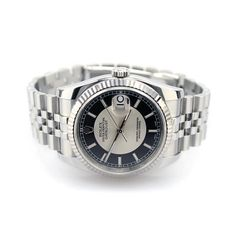 Rolex Oyster Perpetual DateJust 116234 with unique black and silver concentric dial, and alternating red / black odd & even dates