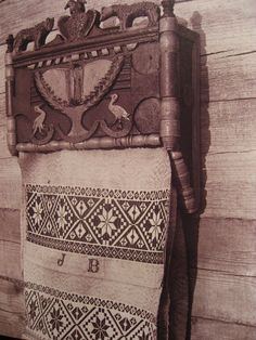An old Lithuanian towel holder. Since the old times a towel had not only been used for everyday purposes, but also had a significant symbolic meaning. Photo by Balys Buračas