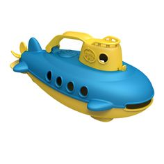 Submarine Take the helm of the My First Green Toys™ Submarine for a nautical journey to help protect the planet! Submerge it underwater to explore the terrain at the bottom of the tub, and let it resurface to scan the horizon in search of the next earth-friendly adventure.  Made from 100% recycled plastic No BPA, phthalates or PVC Meets FDA food contact standards  Easy to clean and dishwasher safe Packaged with recycled and recyclable materials and printed with soy inks