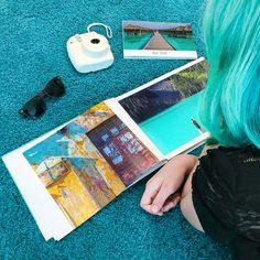 "Journi on Instagram: ""🎼 I'm blue Da ba dee da ba di 🎼  #lifeisajourni #journi #bluehair #dontcare #summer #hot #photobook #polaroid #camera #pictures…"" Blue Da Ba Dee, Im Blue, Polaroid Camera, Blue Hair, Photo Book, Summer, Pictures, Inspiration, Instagram"