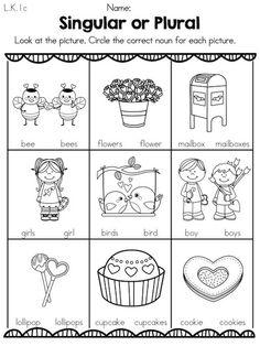 Singular or Plural Valentine Nouns >> Part of the Valentine's Day Kindergarten Literacy Worksheets