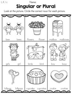Singular or Plural Valentine Nouns >> Part of the Valentine's Day Kindergarten Literacy Worksheets. Repinned by SOS Inc. Resources pinterest.com/sostherapy/.