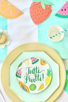 Check out this colorful tutti-frutti birthday party! The table settings are gorgeous! See more party ideas and share yours at CatchMyParty.com #catchmyparty #partyideas #tuttifrutti #tuttifruttiparty #girlbirthdayparty
