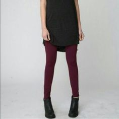 NWT Brandy Leggings The paper part of the tag got caught on something and came off. Brand new! Burgundy color. Brandy Melville Pants Leggings