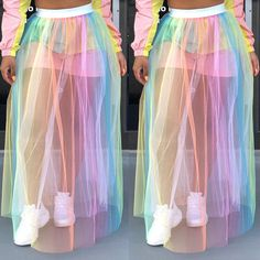 Women Skirts Summer See Through Mesh Rainbow Striped Mesh Sheer High Waist Women Maxi Skirt Party Long Skirt Casual Beach Skirts Girls Fashion Clothes, Teen Fashion Outfits, Mode Outfits, Girl Fashion, Fashion Dresses, Fashion Women, Fashion Tips, Classy Fashion, Fashion Quotes