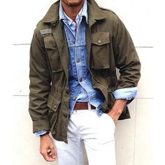 Olive Green Field Jacket, Denim Jacket, and White Jeans, Men's Spring Summer Fashion.