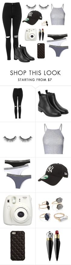 """Untitled #22"" by laura-m01 ❤ liked on Polyvore featuring Topshop, Monki, Sephora Collection, Glamorous, Calvin Klein Underwear, New Era, Forever 21, 2Me Style and Christian Louboutin"