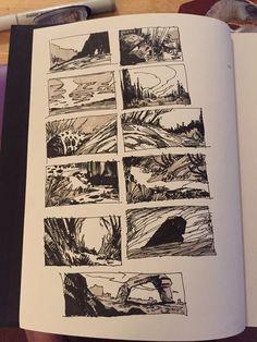 Landscape doodles in the new sketchbook.