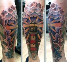 100 Lighthouse Tattoo Designs For Men – A Beacon Of Ideas – Octopus Tattoo Eagle Chest Tattoo, Leg Tattoo Men, Calf Tattoo, Hand Tattoos, Sleeve Tattoos, Traditional Lighthouse Tattoo, Traditional Tattoo, See Tattoo, Tattoo Blog