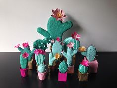 paper mache cacti by bramble workshop