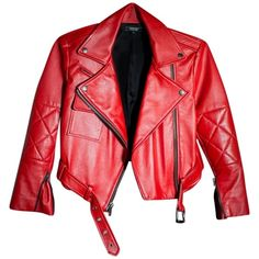 Pre-owned Simone Carvalli Cropped Moto Red Leather Jacket ($585) ❤ liked on Polyvore featuring outerwear, jackets, tops, coats, red, red jacket, cropped jacket, cropped leather jacket, genuine leather jacket and motorcycle jacket