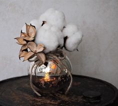 Cotton Boll Bouquet and Mercury Glass Vase - Home Decor - Christmas Decoration - Wedding Decoration - Anniversary Gift - Centerpiece