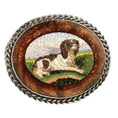 Victorian Micro Mosaic Spaniel Brooch Italian Circa 1850 - 1860