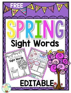 Sight Word Spring Editable Printable Freebie: These Sight Word Printable templates have been created to cater for the many different levels in our classrooms. The same format and fun design can be used while students practice words specific to their needs.