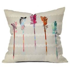 Bring a pop of style to your sofa or favorite reading nook with this eye-catching pillow, featuring a feathered arrow motif. Made in the USA.  Product: PillowConstruction Material: Woven polyesterColor: WhiteFeatures:  Insert includedDesigned by Iveta Abolina for DENY DesignsPrinted on front and back Zipper closure Handmade   Cleaning and Care: Machine washable cover