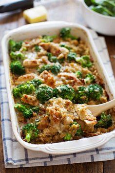 Creamy Chicken Quinoa and Broccoli Casserole by pinchofyum: 350 calories/serving