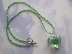 Lampwork Glass Green Floral Necklace 18 by cynhumphrey on Etsy, $18.99