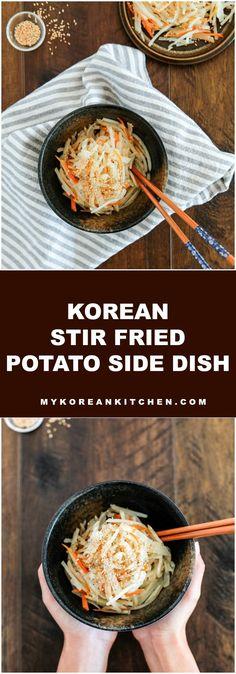 Stir fried shredded potato. It's an easy and popular Korean side dish! | MyKoreanKitchen.com