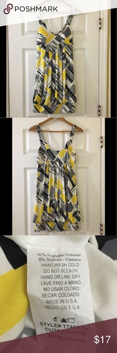 Yellow Grey Black White Short Bubble Hem Dress Geometric yellow, grey, white and black bubble hem dress. Perfect for date night!  Only wore once on vacation. Has two small fabric pulls on the bottom (see last photo) but other wise in good condition.  Bundle up and save! Thanks for visiting my closet 💝 Janette John 3:16 Dresses