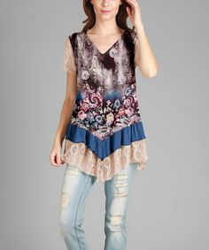 Love this Black & Cream Floral Lace-Trim Tunic - Plus on #zulily! #zulilyfinds