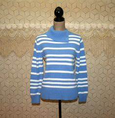 Womens Pullover Sweater Medium Cotton Blue and by MagpieandOtis