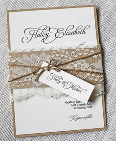 Rustic Wedding Invitations. Lace Wedding di LoveofCreating su Etsy
