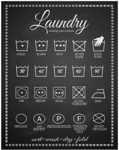 A pretty black and white guide to those extremely confusing laundry symbols.